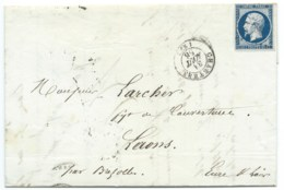 N° 14 BLEU NAPOLEON SUR LETTRE / CHARTRES POUR LAONS / 31 AOUT 1856 - Marcophilie (Lettres)