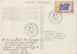 France Cachet 1960 Conseil De L'Europe Sur Carte Drapeau 12 étoiles - Lettres & Documents