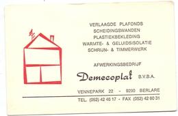 Visitekaartje - Carte Visite - Pub Reclame - Afwerkingsbedrijf Demecoplat - Berlare - Tarjetas De Visita