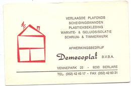 Visitekaartje - Carte Visite - Pub Reclame - Afwerkingsbedrijf Demecoplat - Berlare - Visiting Cards