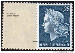 France N° 1535 B ** Marianne De Cheffer. La République, Le 0f25 Bleu Gravé De Roulette, Gomme Tropicale - France
