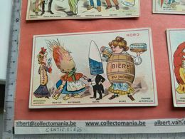 4 Cards Litho PUB C1880 Anthropomorphic Dressed Animals Acting As Food Veggie People 10cmX 6,2cm - Sonstige