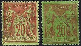FRANCE Type Sage:  2 Nuances Différentes Pour Le  Y&T 96  Obl. B à TB - 1876-1898 Sage (Type II)
