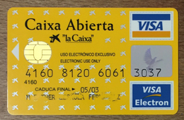 ESPAGNE CAIXA ABIERTA VISA CASH CARTE BANCAIRE CARTE À PUCE QUE POUR COLLECTION - Cartes De Crédit (expiration Min. 10 Ans)