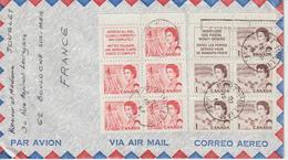 Lettre Canada 1967 Pour La France Avec Affranchissement Par 2 Feuillets Issus De Carnet - 1952-.... Reign Of Elizabeth II