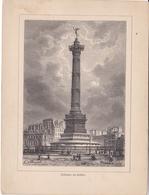 Album De L'Histoire De France : Gravure  PARIS    La Colonne De Juillet  Texte Au Dos Format 19,5 X 14,8 - Histoire