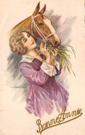 Illustrateur - N°66986 - Bertiglia - Bonne Année - Jeune Femme Donnant Du Foin à Un Cheval - Bertiglia, A.
