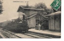 VERRIERES - La Gare - Locomotive à Vapeur - Autres Communes