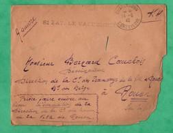 Guerre 14 Juin 1940 Lettre En Franchise Militaire Avec Cachet 81eme Batterie De DCA De Conie Pres De Chateaudun à Rouen - Marcophilie (Lettres)