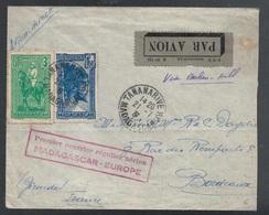 Madagascar, Enveloppe Premier Vol Pour La France En 1937    -CP80 - Madagascar (1889-1960)