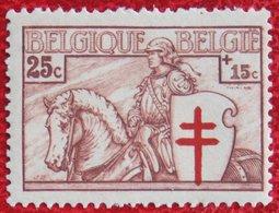 25c+15c Tuberculose Zegel Ridder 1934 OBP 395 (Mi 387) Ongebruikt/ MHBELGIE BELGIUM - Unused Stamps