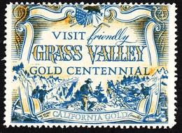 "USA California 1948 "" Grass Valley Gold Centennial "" Vignette Cinderella Reklamemarke - Erinofilia"