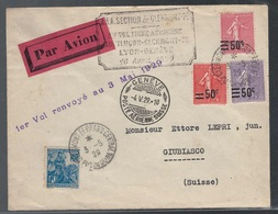France, Enveloppe Premier Vol Lyon-Geneve En 1929          -CQ04 - Luftpost