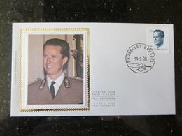 """BELG.1990 2356 FDC (Brux/Brus) Zijde/soie  : """" Koning Boudewijn / Roi Baudouin 25F """" - FDC"""
