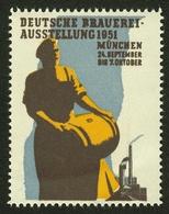 """München 1951 """" Deutsche Brauereiausstellung Bier """" Vignette Cinderella Reklamemarke - Erinnophilie"""