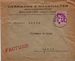 Mulhouse 2 - 1934 - Matériel électrique Herrmann Sur Paix Violet - Postmark Collection (Covers)
