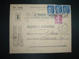 DEVANT LR VALEURS A RECOUVRER TP PAIX 65c X3 + SEMEUSE 20c OBL.27-9 38 ST ETIENNE MANUFACTURE LOIRE (42) Tiretée ST MARD - 1921-1960: Modern Tijdperk