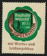 """Bensheim Bergstrasse 1951 """" Bergsträßer Winzerfest Mit Leistungsschau """" Vignette Cinderella Reklamemarke - Erinnophilie"""
