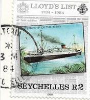 SEYCHELLES 1984 - NAVI - VALORE USATO SU FRAMMENTO - Seychelles (1976-...)