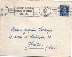 Pontivy 1952 - Flamme Squares Rivière Ombrages Château Sur Gandon - Postmark Collection (Covers)