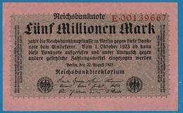 DEUTSCHES REICH 5 Millionen Mark 20.08.1923# E.00139667  P# 105 - [ 3] 1918-1933 : République De Weimar