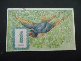 Hirondelle Volant, Carte Myosotis 1er Janvier - Dorure -gaufrée - Série 13561 - Birds