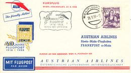 Austria First AUA Flight Cover Wien - Klagenfurt 27-9-1958 - AUA-Erstflüge