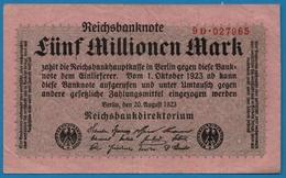 DEUTSCHES REICH 5 Millionen Mark 20.08.1923# 9D.027965  P# 105 - [ 3] 1918-1933 : République De Weimar