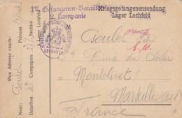 Carte Postale De Correspondance De Camp De Prisonniers De LECHFELD 1914. - Autres