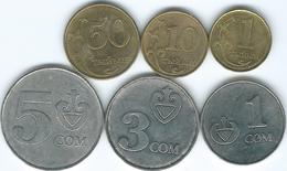 Kyrgyzstan - 2008 - 1, 10 & 50 Tiyin; 1, 3 & 5 Som (KMs 12-16) - Kyrgyzstan