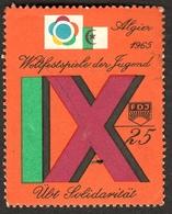 """Algerie Algier Alger 1965 """" FDJ DDR Teilnahme IX.Weltfestspiele Der Jugend In A."""" Vignette Cinderella Reklamemarke - Erinofilia"""