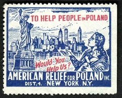 "USA New York 1938 "" American Relief For Poland "" Vignette Cinderella Reklamemarke - Erinofilia"