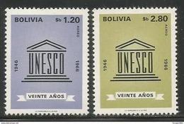 1968 Bolivia Airmail UNESCO Complete  Set Of 2 MNH - Bolivia