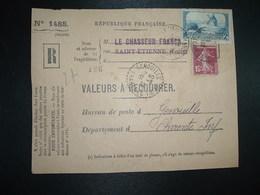 DEVANT LR VALEURS A RECOUVRER TP MOULIN 2F + SEMEUSE 15c OBL.29-3 38 ST ETIENNE MANUFACTURE LOIRE (42) Tiretée GENOUILLE - 1921-1960: Modern Tijdperk