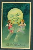 Relief - Gaufrée - Embossed - Prage - Anges - Lune - Moon - Mond  - TBE Précurseur - Anges