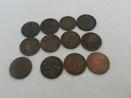 Lot De  12 Monnaies  Bronze Ou Cuivre  Lot N13  Vente Uniquement   En France - Munten & Bankbiljetten