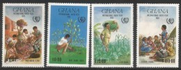 1985 Ghana International Youth Year Tree Planting GREEN Complete Set  Of 4 MNH - Ghana (1957-...)