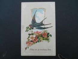 Hirondelle Volant Avec Trèfles Dans Médaillon, églantines - Gaufrée - Série 6192 - Oiseaux