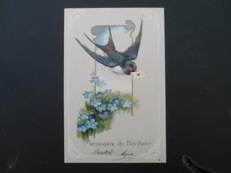 Hirondelle Volant Avec Lettre Dans Son Bec Dans Médaillon, Myosotis - Gaufrée - Série 6192 - Oiseaux