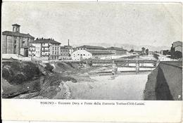 ITALIE - TORINO - TORRENTE DORA E PONTE DELLA FERROVIA TORINO CIRIE LANZO - PRECURSEUR - Carte Colorisée - Ponts