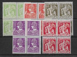 Belgique N°335/339 En Blocs De 4 Neufs ** Sans Charnière - N°339 Petit Pli Sur 1 Timbre. TB - Nuevos