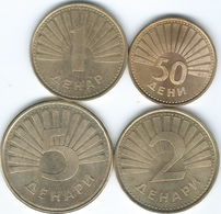Macedonia - 1st Issues - 1993 - 50 Deni (KM1) 2006 - 1 Denar (KM2) 2 Denari (KM3) & 2008 - 5 Denari (KM4) - Macedonië