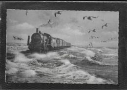 AK 0470  Dampf-Eisenbahn Am Hindenburgdamm Auf Sylt / Verlag Lagerbauer Um 1950-60 - Trains