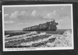 AK 0470  Dampf-Eisenbahn Am Hindenburgdamm Auf Sylt Um 1954 - Trains