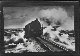 AK 0470  Dampf-Eisenbahn Am Hindenburgdamm Auf Sylt - Verlag Rißler Jun. Um 1960 - Trains