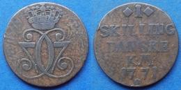 DENMARK - 1 Skilling 1771 KM# 616 Christian VII (1766-1808) Copper - Edelweiss Coins - Danimarca