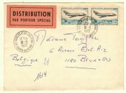 FRANCE L TP Poste Aérienne Obl SABLES D'OR LES PINS COTES DU NORD 19 VIII 1972 Vers Bruxelles DISTRIBUTION PAR PORTEUR - Marcophilie (Lettres)