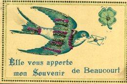 Elle Vous Apporte Mon Souvenir De BEAUCOURT Hirondelle Trèfle à 4 Quatre Feuilles Paillettes - Beaucourt