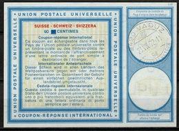LIECHTENSTEIN Vi19 90 / 60 Centimes International Reply Coupon Reponse Antwortschein IAS IRC O VADUZ 23.08.72 - Stamped Stationery