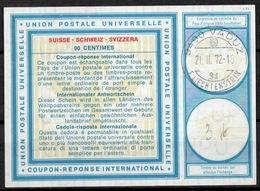 LIECHTENSTEIN Vi19 90 CentimesInternational Reply Coupon Reponse Antwortschein IAS IRCo VADUZ 21.II.72 - Stamped Stationery